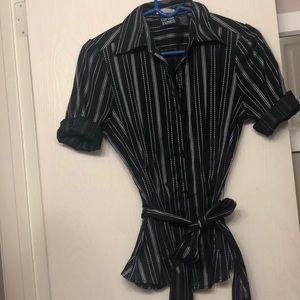 Black button down shirt with silver strips